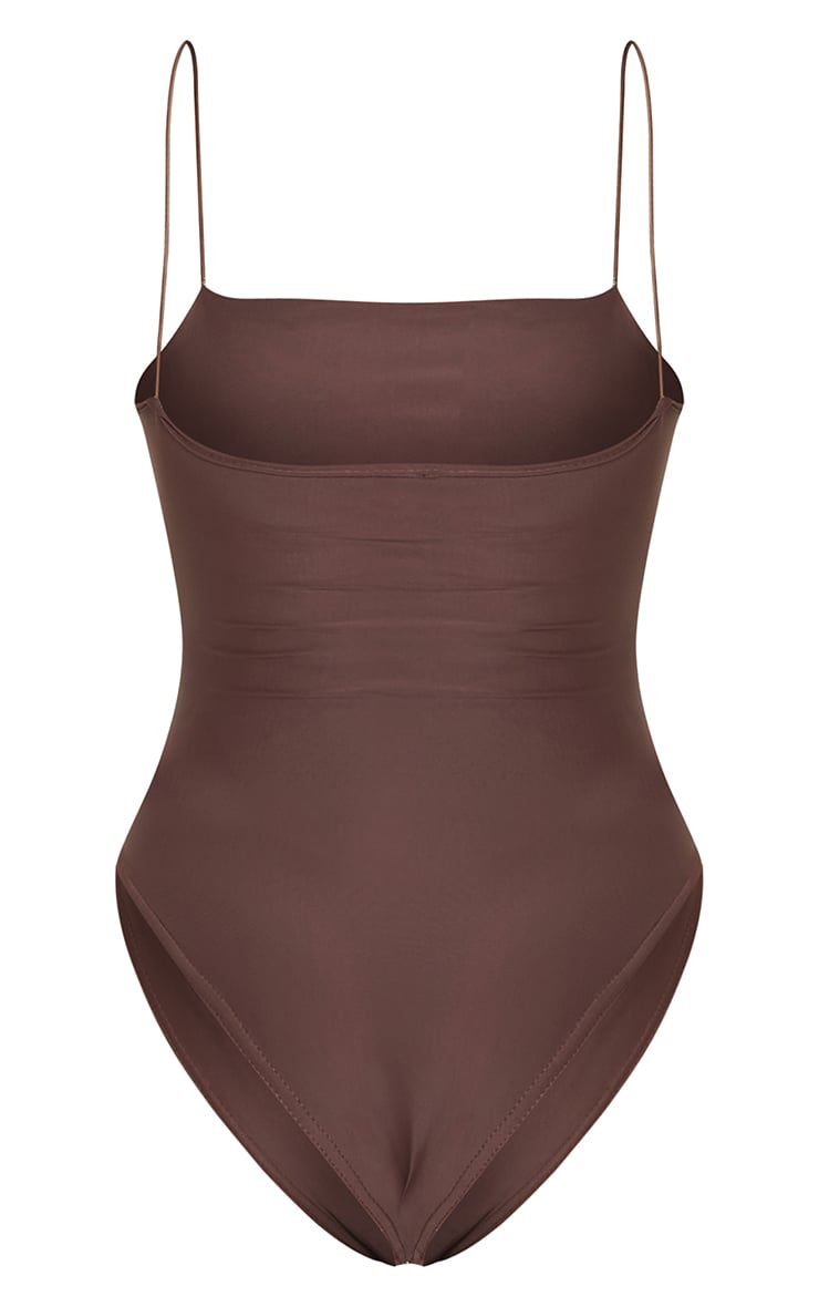 Chocolate Cut Out Elasticated Swimsuit 6