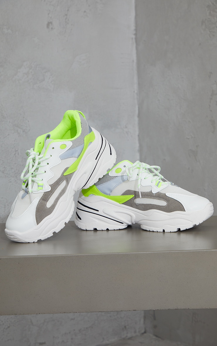 Lime Chunky Lace Up Sneakers  3