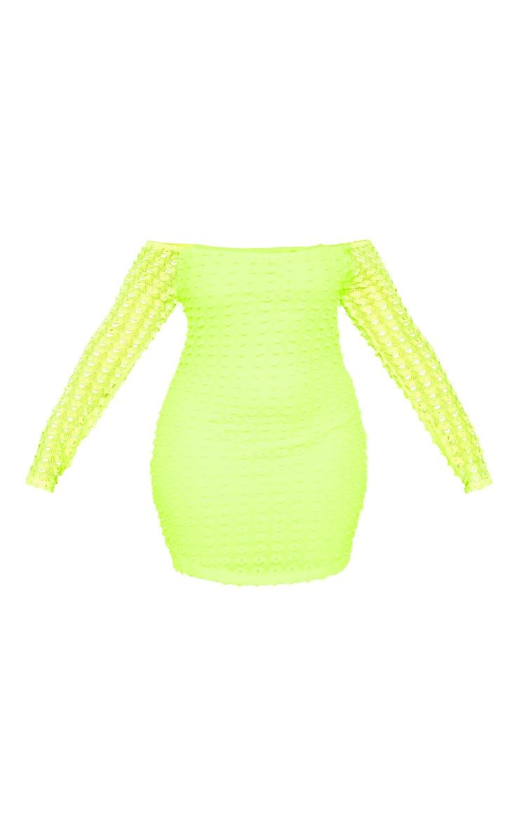 Plus Neon Yellow Crochet Bardot Bodycon Dress 3