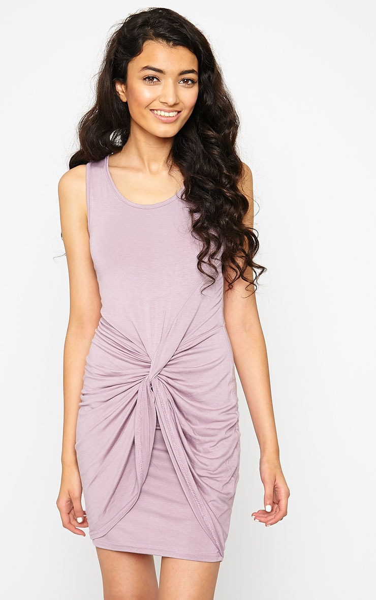 Izabella Mauve Twist Front Dress 1