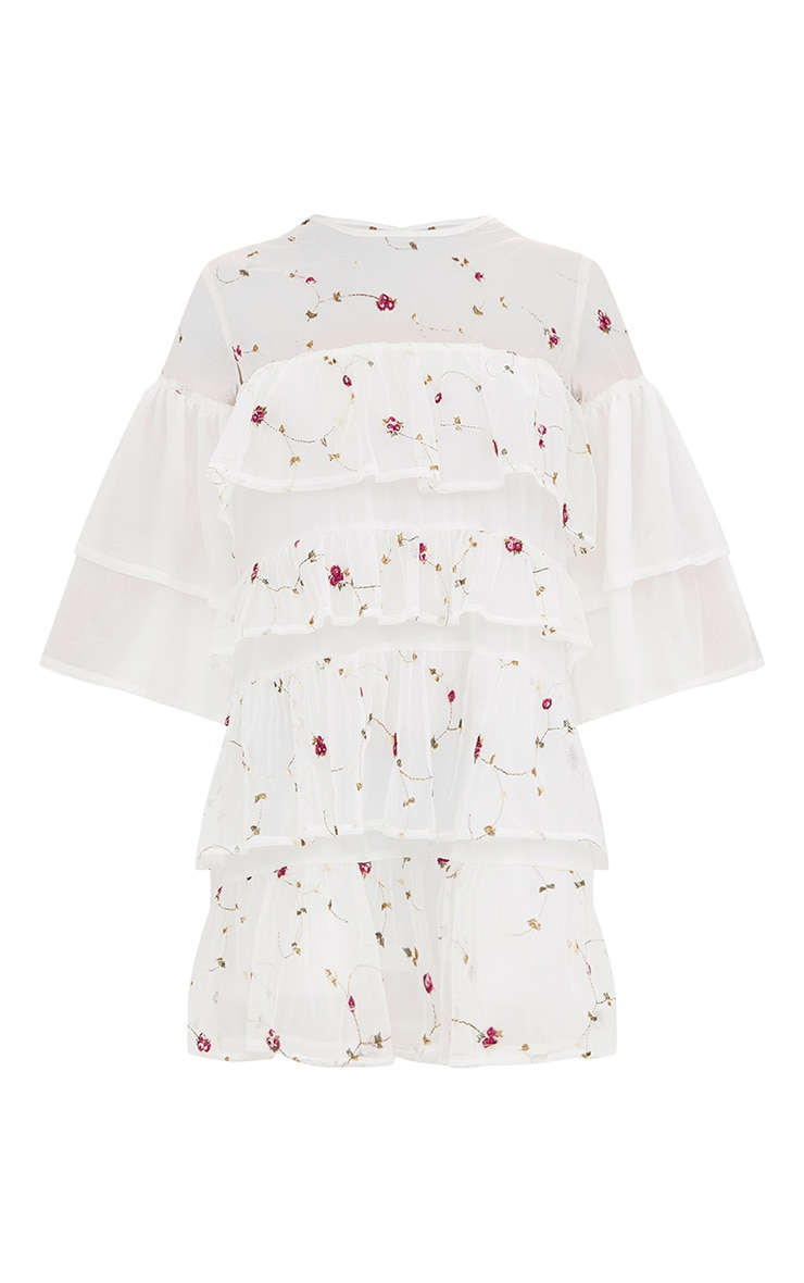 White Embroidered Tiered Mesh Shift Dress 3