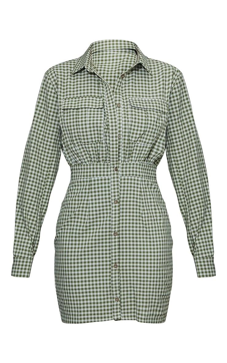 Khaki Check Print Gathered Waist Detail Shirt Dress 5