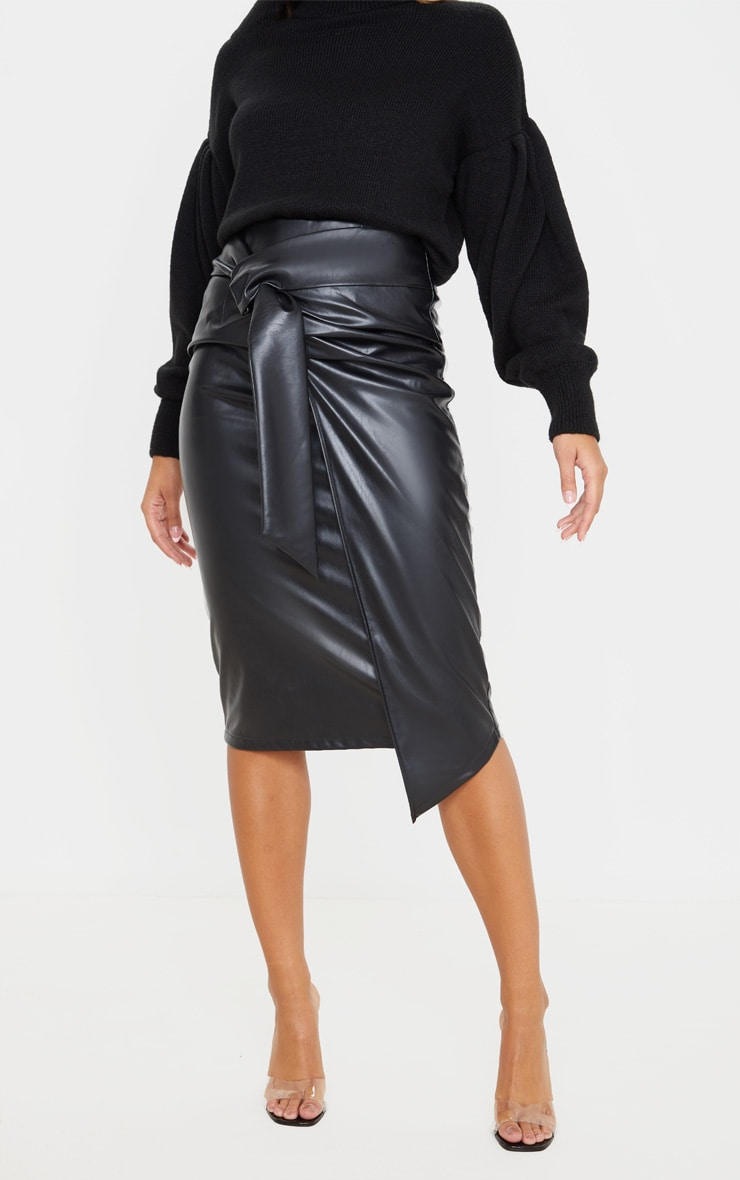 Black Faux Leather Drape Front Midi Skirt  2