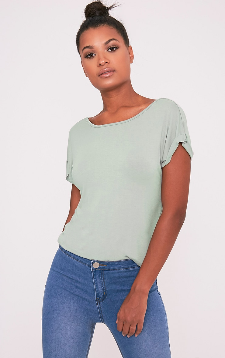 Bea Sage Green Multi Way Cowl Neck T Shirt 8