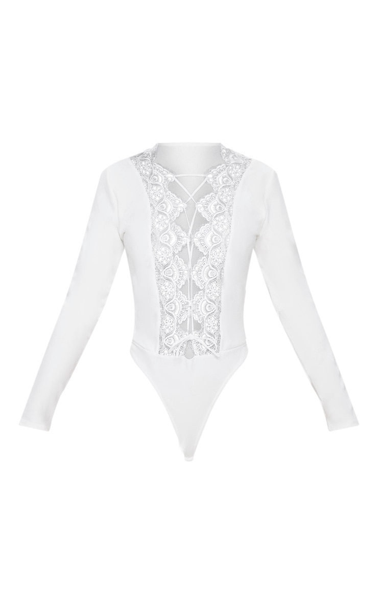 White Lace Up Long Sleeve Thong Bodysuit 3
