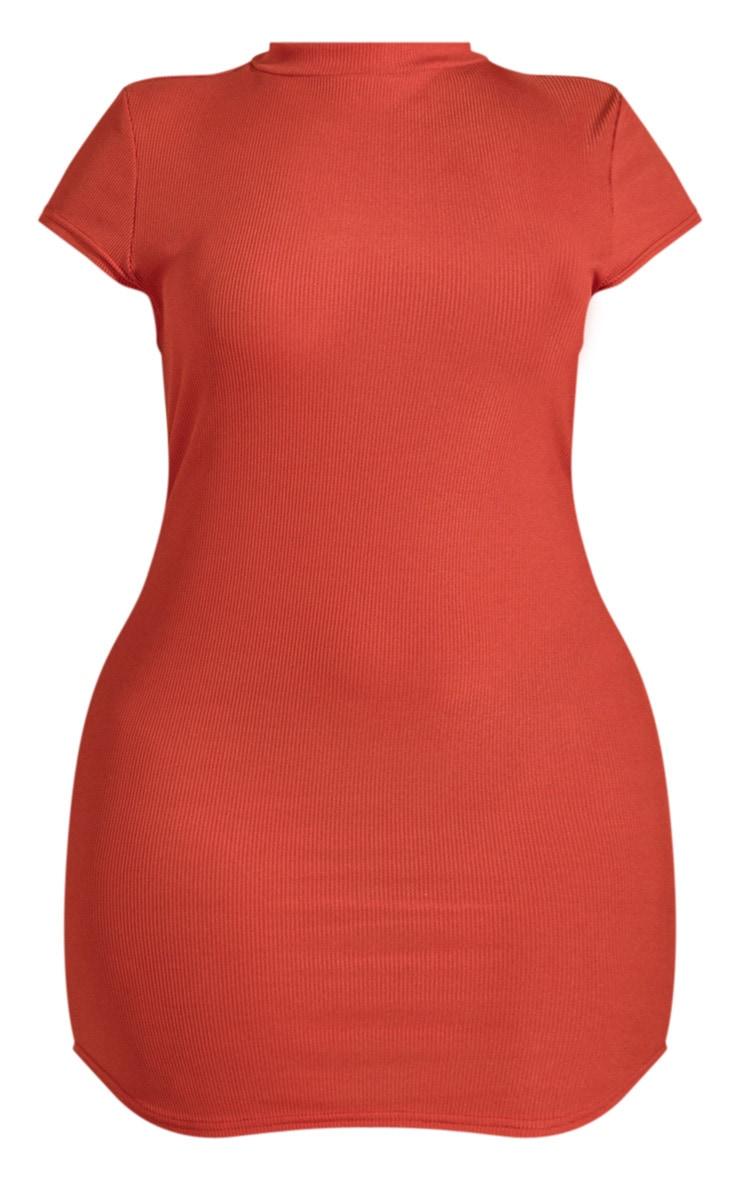 Plus Auburn Ribbed High neck Bodycon dress  3