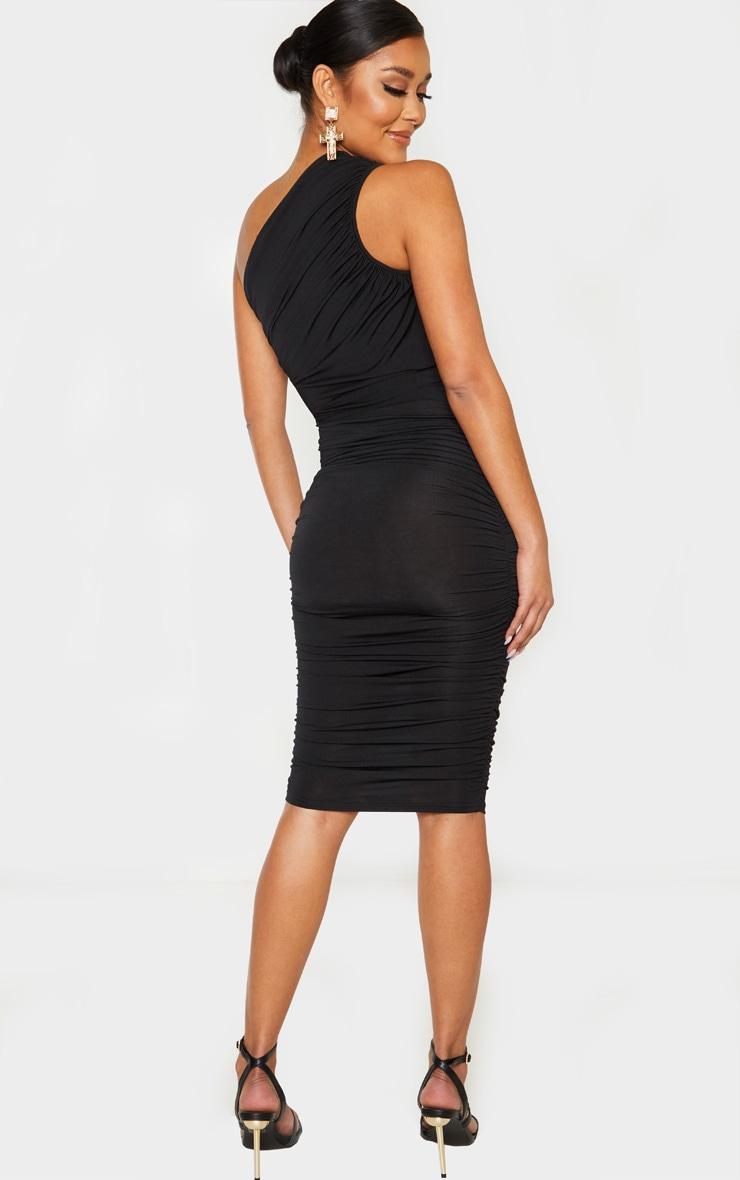 Black Slinky Ruched One Shoulder Longline Midi Dress 2