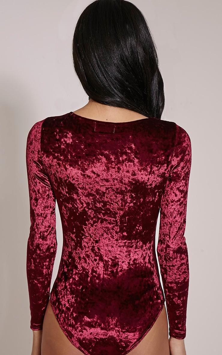 Jazz Burgundy Velvet Lace Up Bodysuit 6