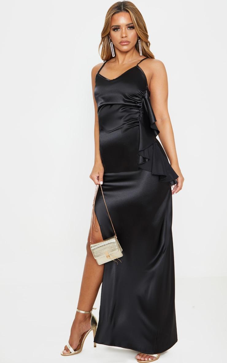 Petite Black Frill Detail Double Split Satin Maxi Dress 4
