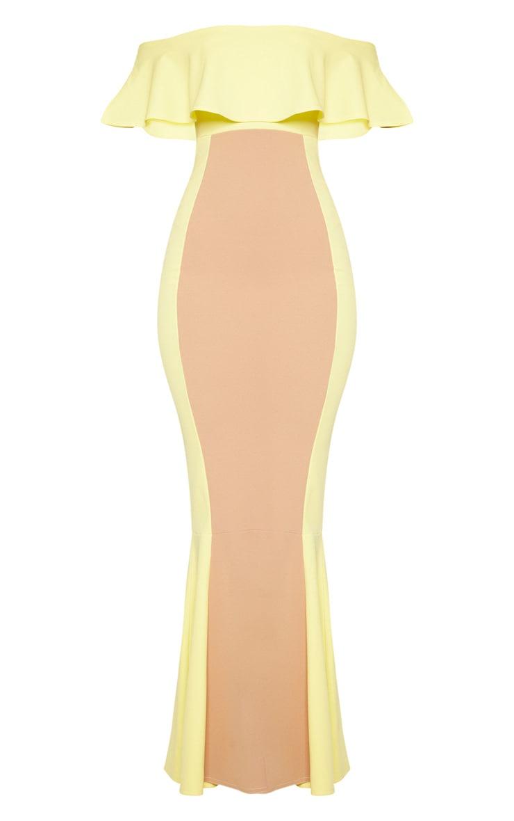 Yellow Bardot Panel Detail Contrast Fishtail Maxi Dress 3