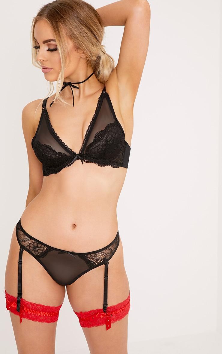 Lia Black Lace Mesh Detail Underwired Bra 1