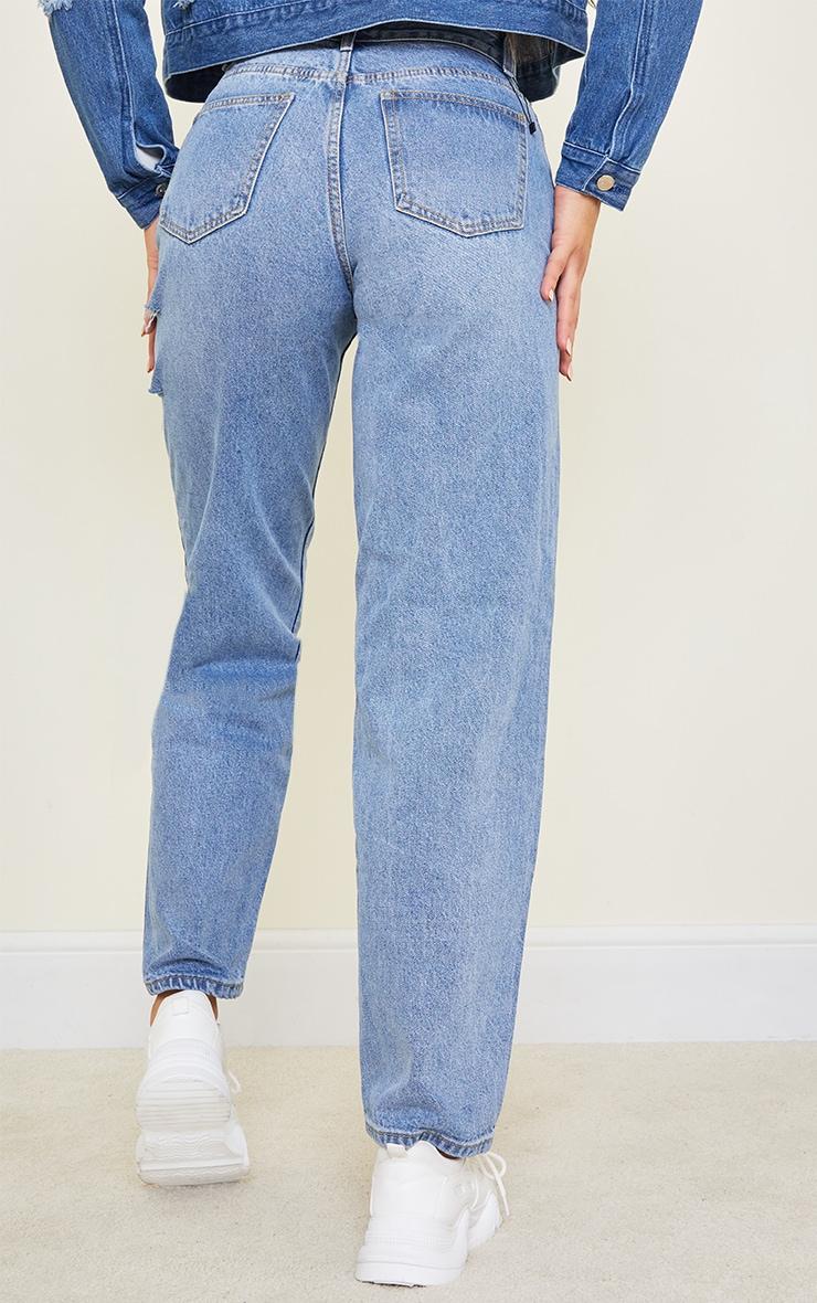 Tall Light Blue Wash Baggy Low Rise Asymmetric Waistband Thigh Split Boyfriend Jeans 3