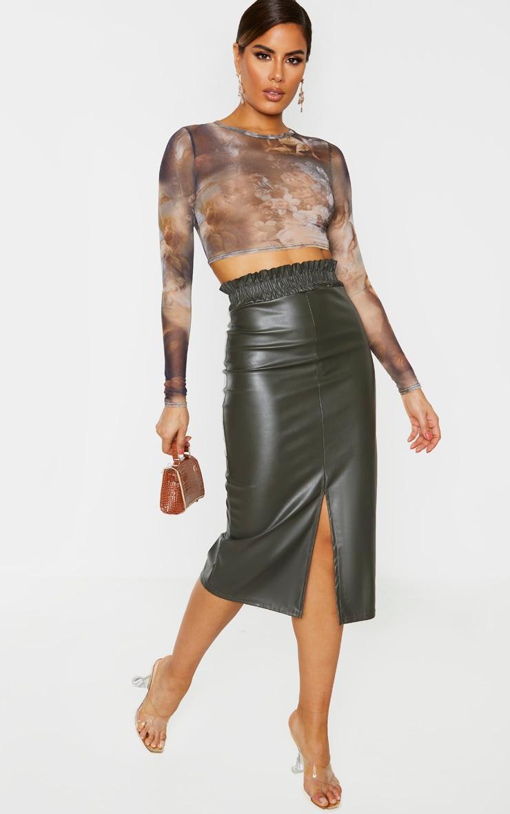 Tall Khaki Ruched Waist PU Midi Skirt 1