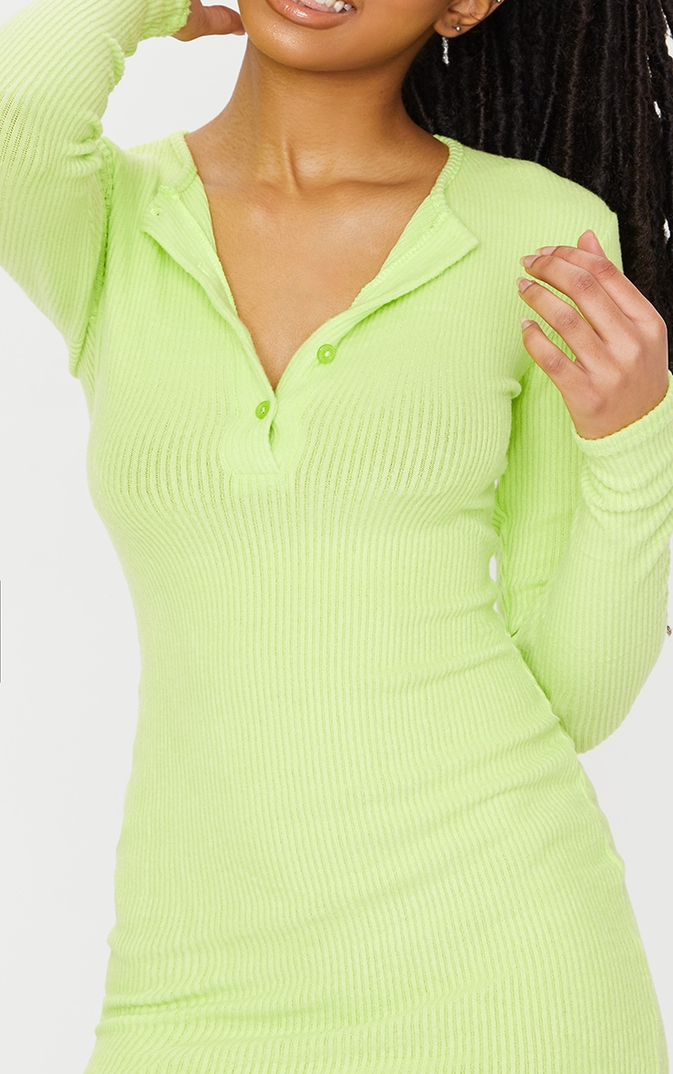 Lime Brushed Rib Long Sleeve Bodycon Dress 4
