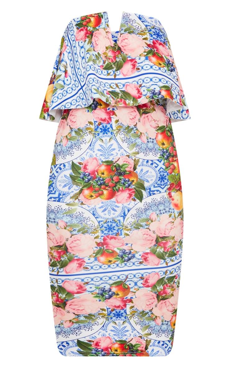 Blue Porcelain Fruit Print Bandeau Midi Dress 3