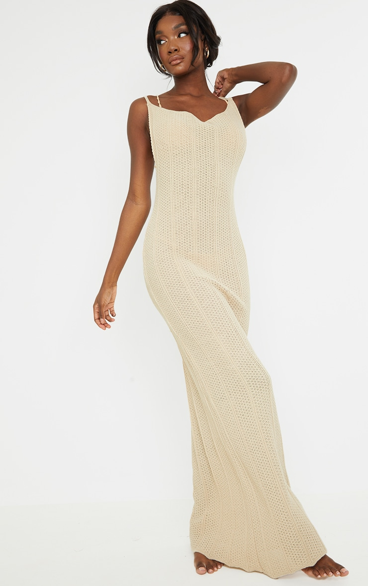 Tall Stone Knitted Low Back Extreme Side Split Maxi Dress 4