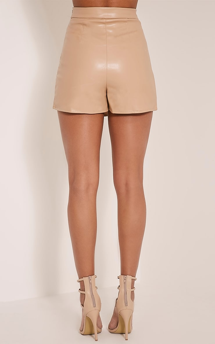 Chlo Taupe Faux Leather Skort 5