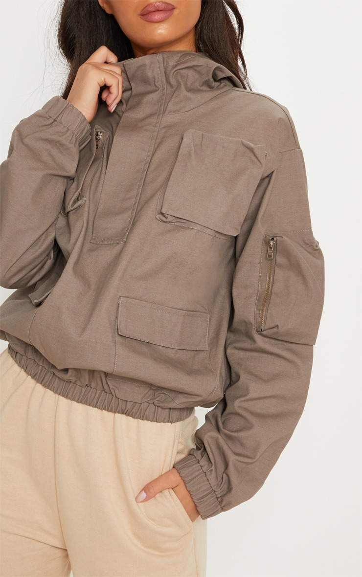 Taupe Pocket Front Cargo Hoodie 6