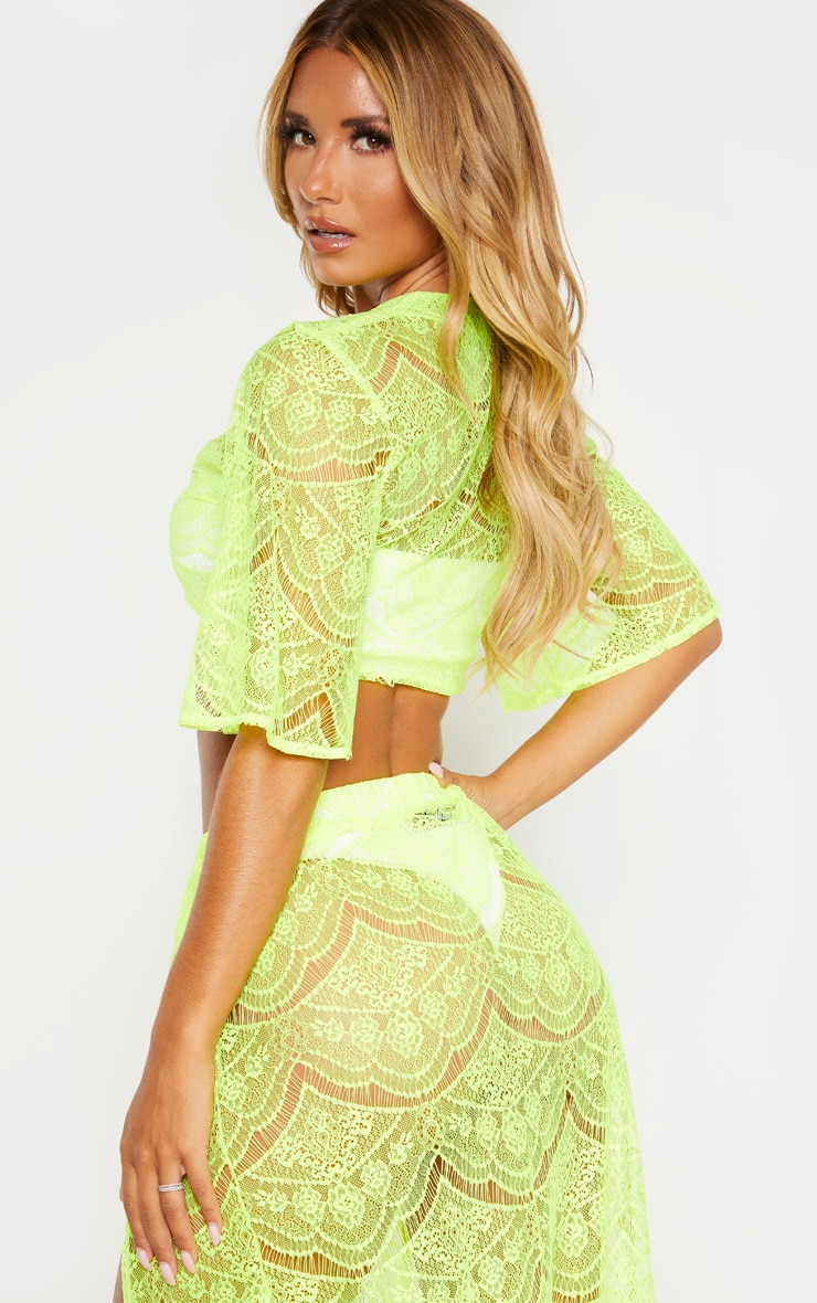 Neon Yellow Lace Tie Front Beach Top 2