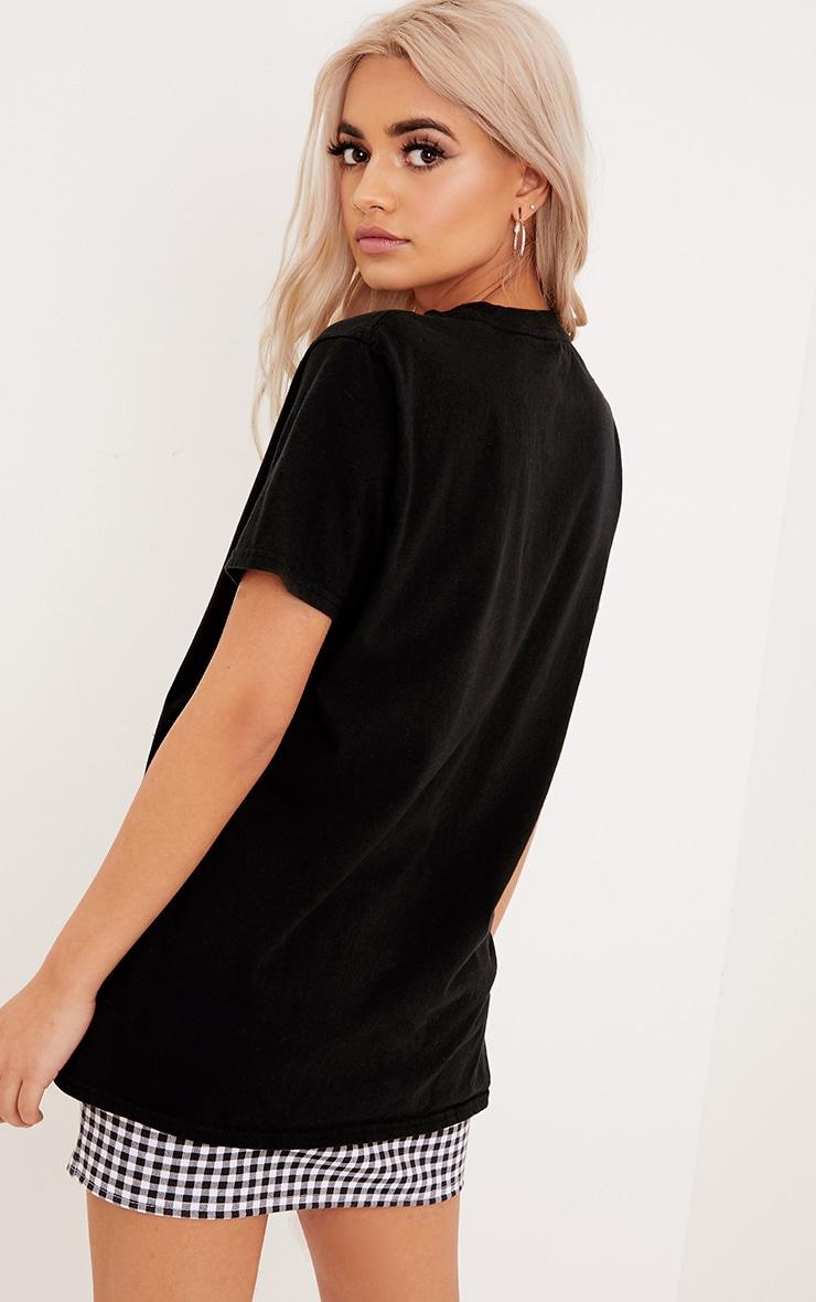 Forever Slogan Black Print Slash Neck T Shirt 2
