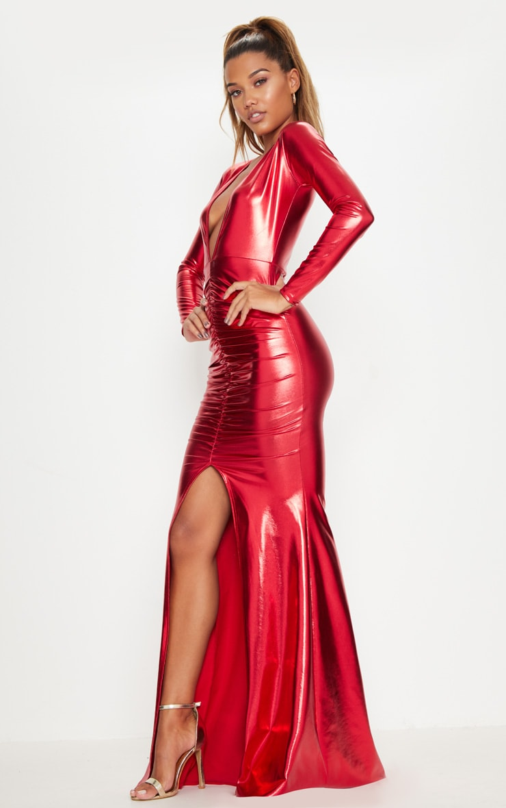 Red Metallic Ruched Maxi Dress 4