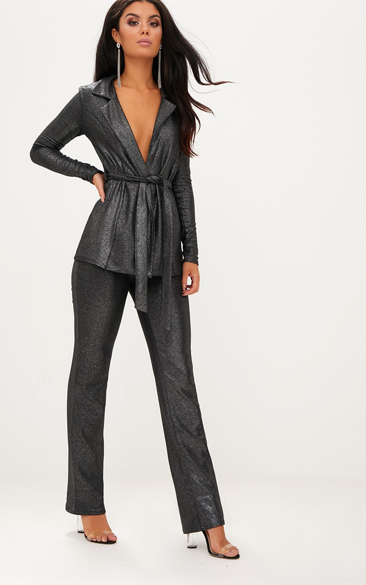 Metalic Silver Straight Leg Suit Pants 1