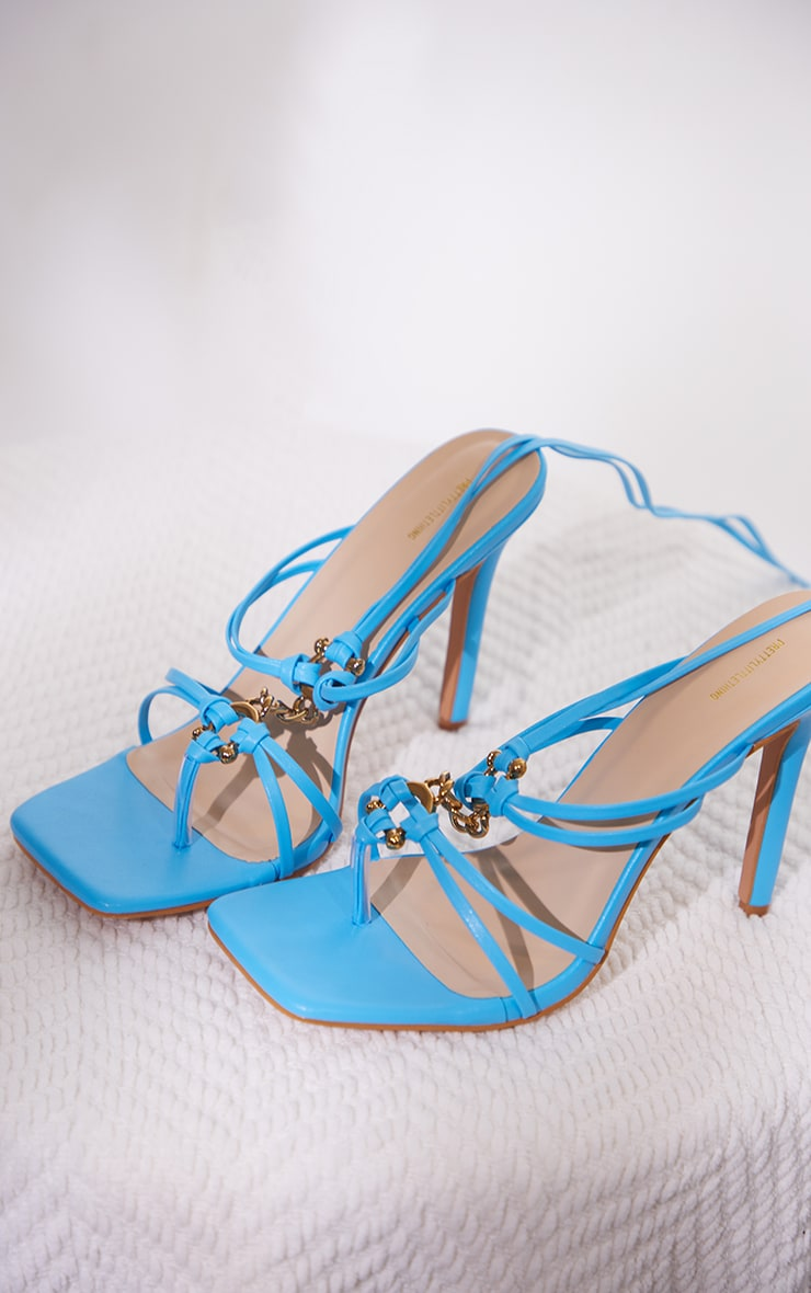 Blue Wide Fit PU Chain Detail Toe Thong Lace Up High Heeled Sandals image 3