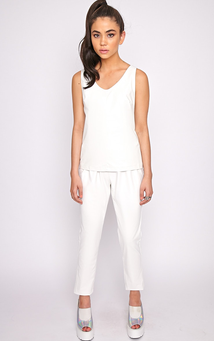 Addison White Leather Jogger 4