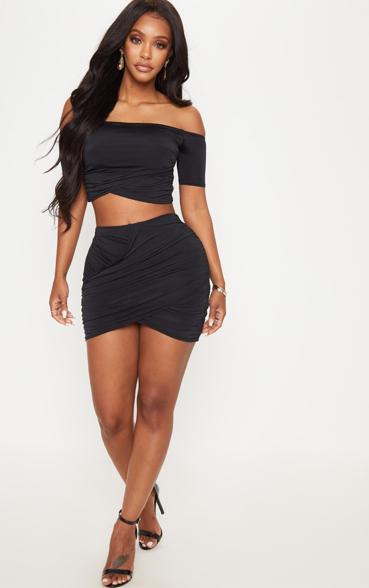 Shape Black Slinky Ruched Mini Skirt 5