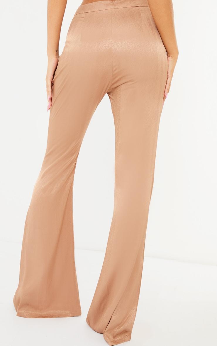 Stone Woven Split Hem Flared Trousers 3