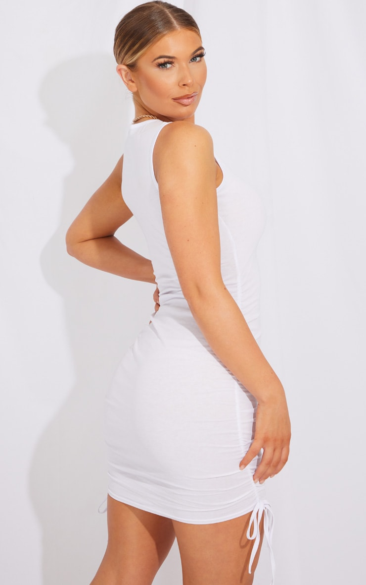 White Ruched Side Sleeveless Bodycon Dress 2