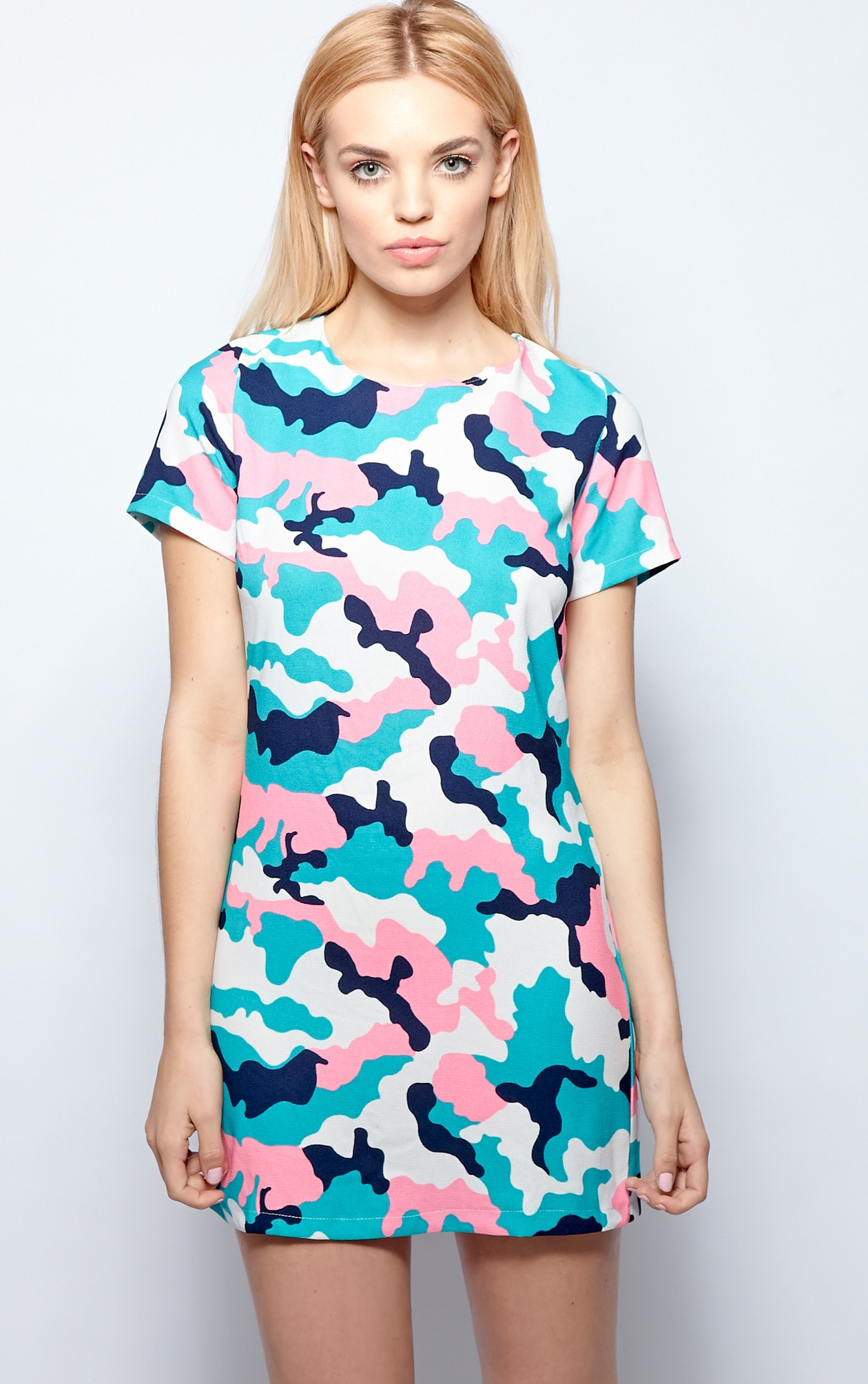 Candice Green Abstract Camo Print Shift Dress 4