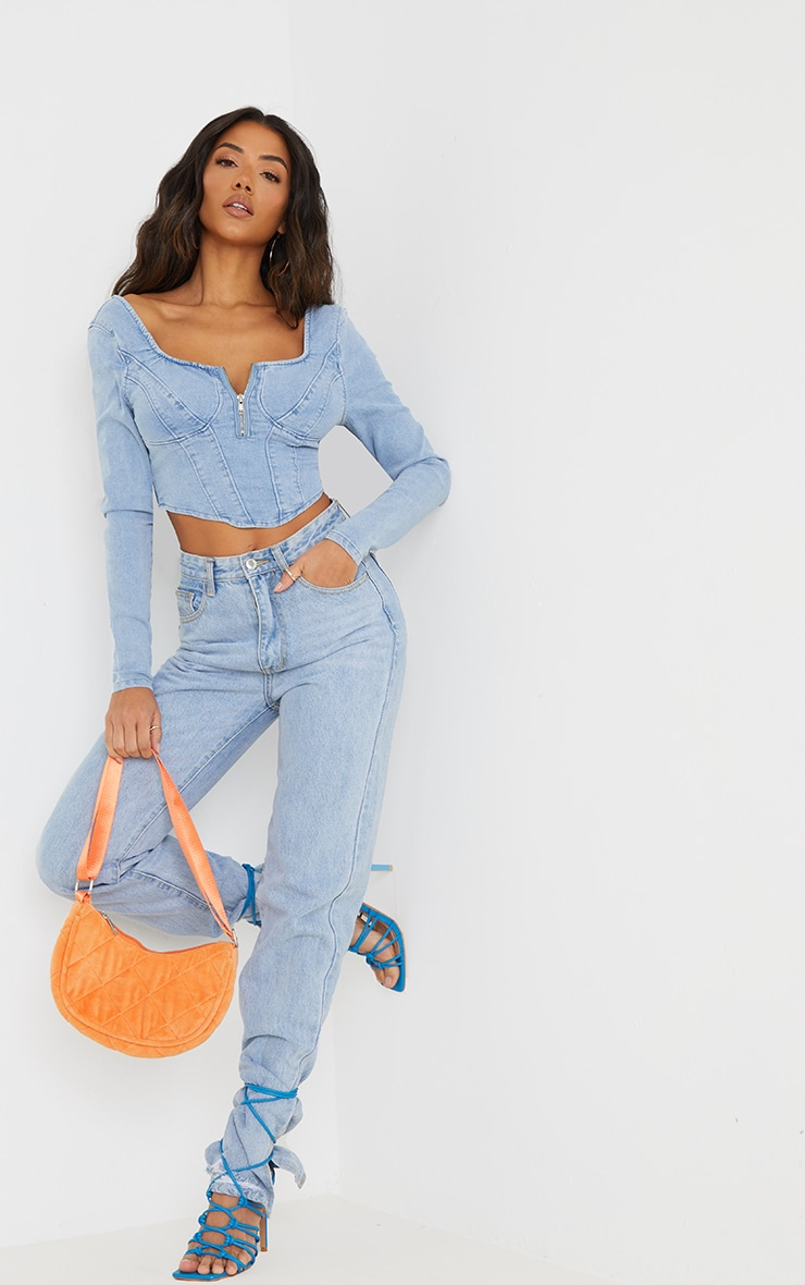Light Blue Wash Long Sleeve Zip Front Denim Corset Top 1