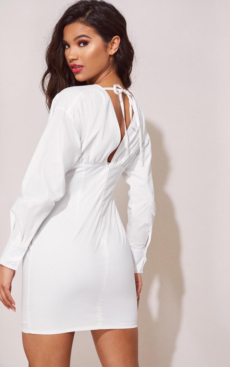 White Corset Detail Bodycon Dress 3