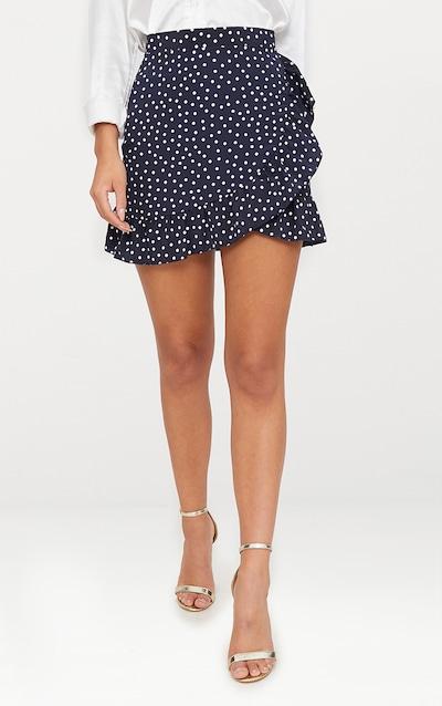 Navy Polka Dot Frill Hem Wrap Mini Skirt