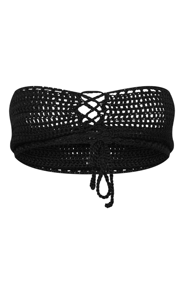 Black Crochet Knitted Lace Front Bandeau 3