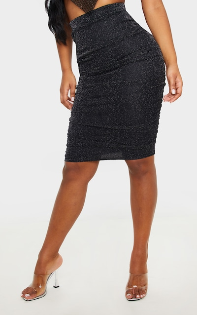 Black Textured Glitter Mesh Ruched Midi Skirt