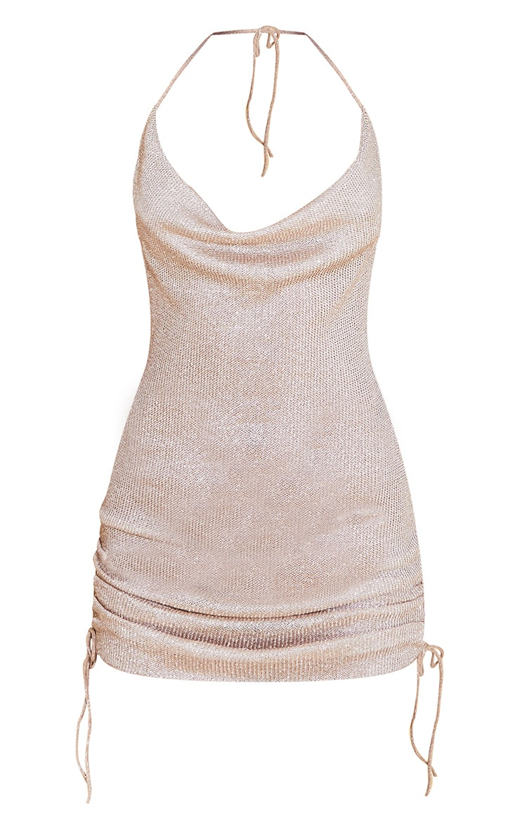 Gold Cowl Neck Ruched Side Bodycon Dress 5