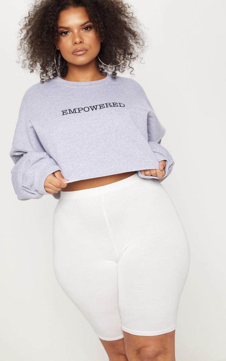 Plus Grey EMPOWERED Cropped Slogan Sweater 1