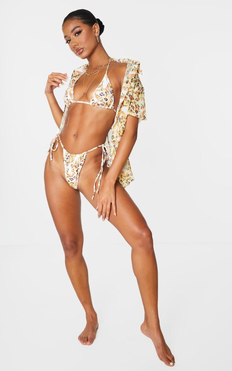White Chain Print Triangle Padded Bikini Top 3