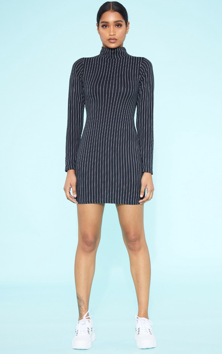 RECYCLED Black Pinstripe Roll Neck Long Sleeve Bodycon Dress 4