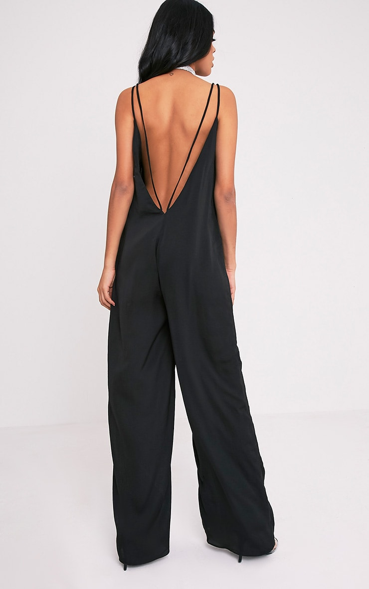 Elisabeth Black Oversized Satin Harness Wide Leg Jumpsuit 5