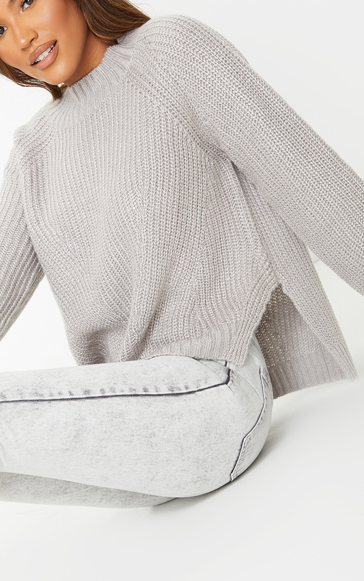 Grey Soft Knit Balloon Sleeve Funnel Neck Sweater 4