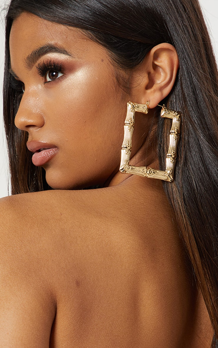 Gold Oversized Bamboo Square Hoop Earrings 1