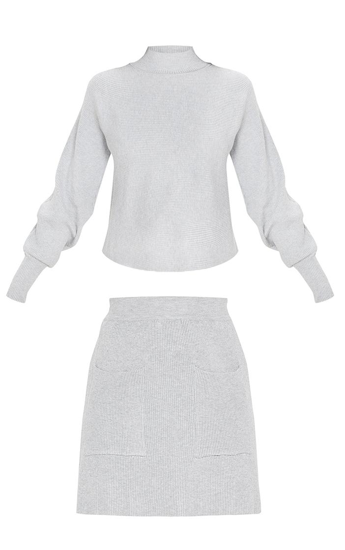 Grey Rib Knitted Skirt Set 3