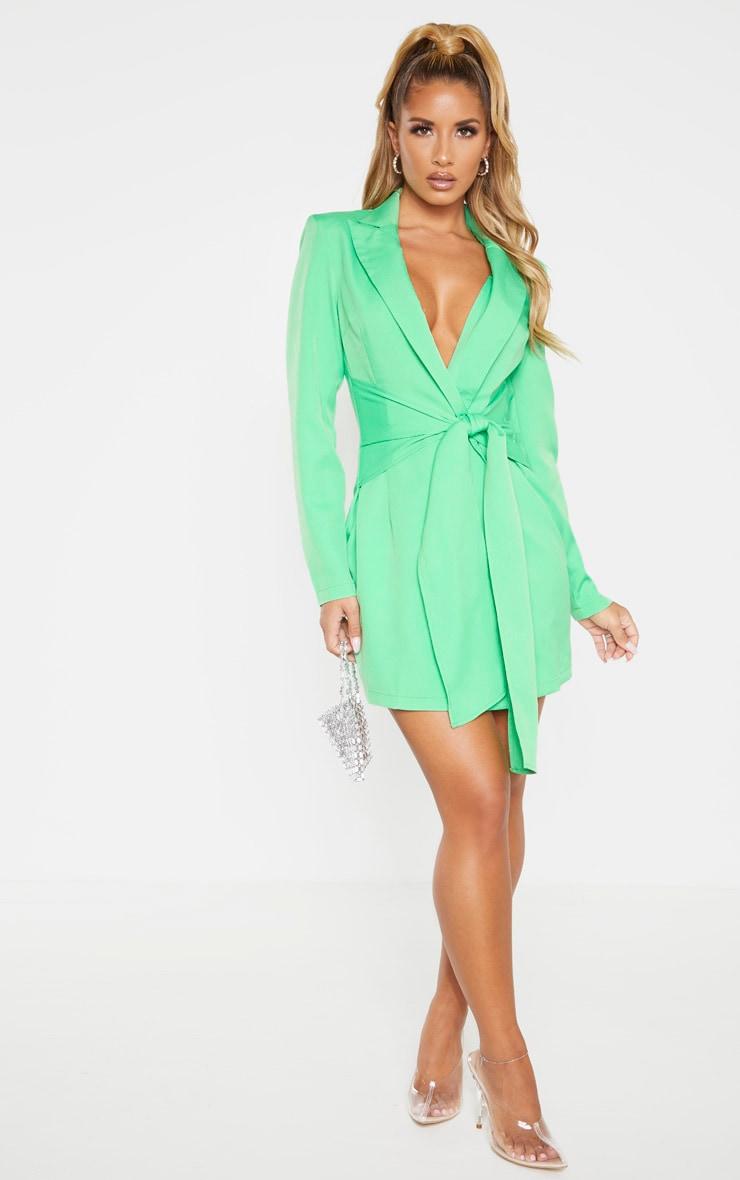 Green Wrap Detail Blazer Dress 1