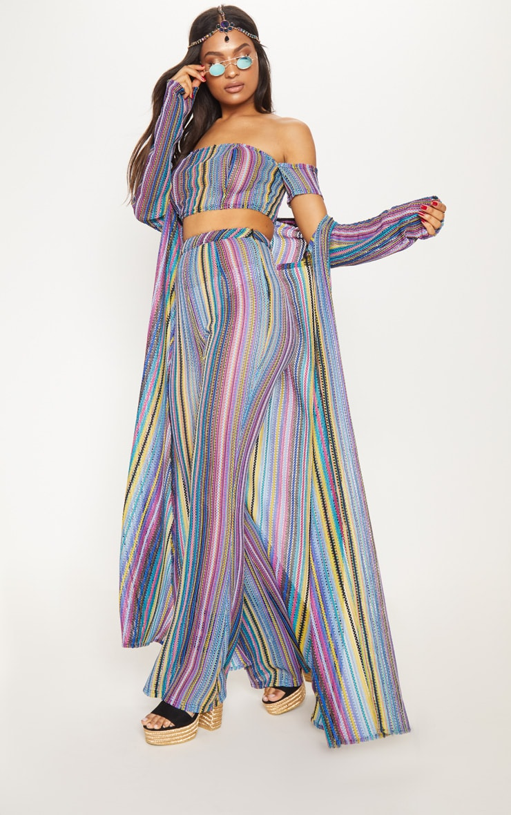 Multi Crochet Stripe Maxi Cardigan  2