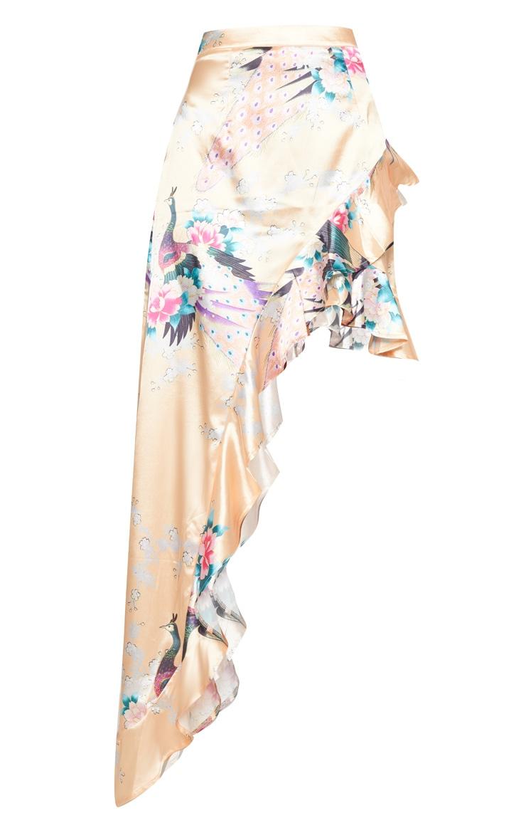 Nude Satin Oriental Asymmetric Skirt 3