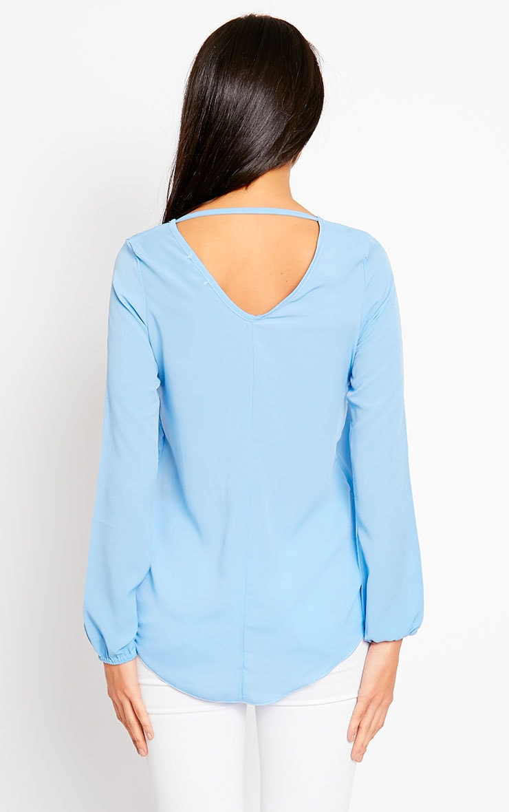 Julie Powder Blue Cross Front Blouse 2