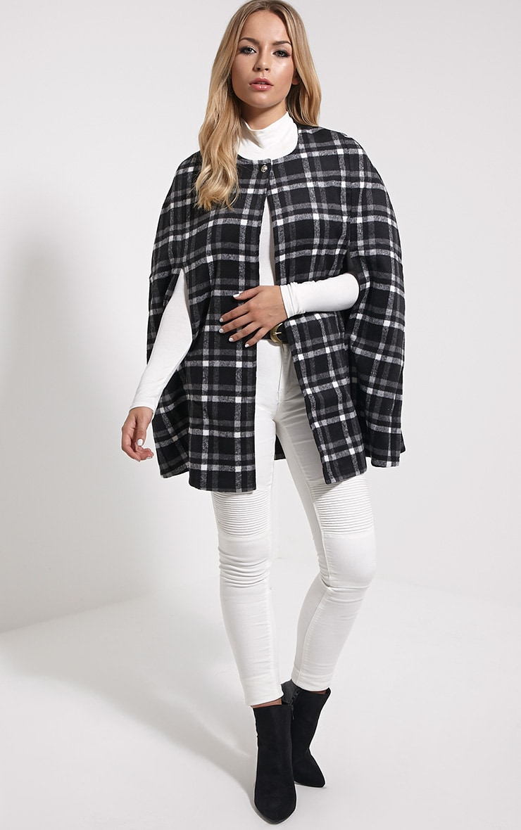 Justine Black Checked Wool Cape 3